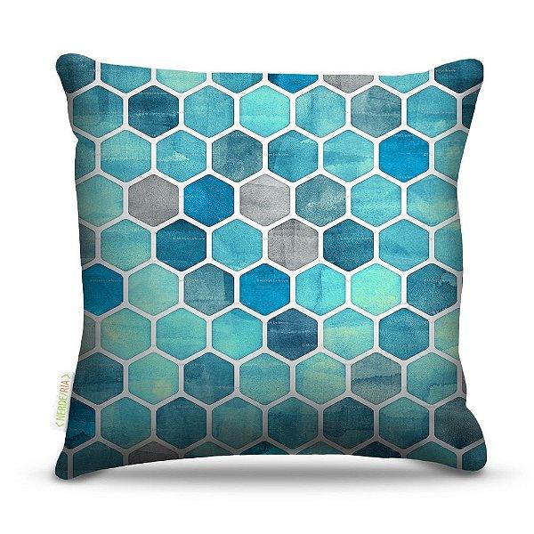 Almofada 45 x 45cm  Nerderia e Lojaria textura azul geometrico colorido