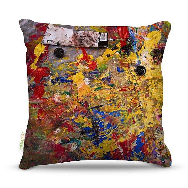 Almofada 45 x 45cm  Nerderia e Lojaria paint abstrato mistura colorido