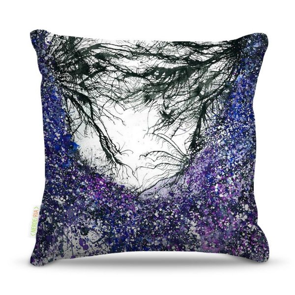 Almofada 45 x 45cm  Nerderia e Lojaria galhos purple colorido