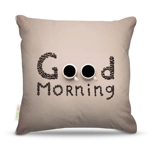 Almofada 45 x 45cm  Nerderia e Lojaria good morning colorido