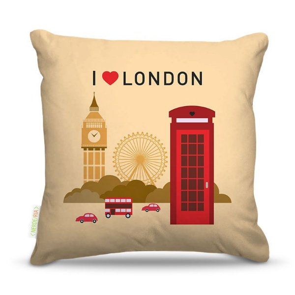 Almofada 45 x 45cm  Nerderia e Lojaria i love london colorido