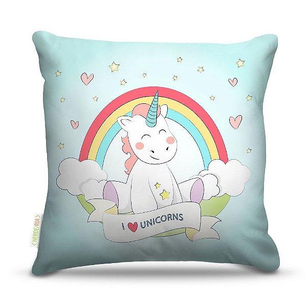 Almofada 45 x 45cm  Nerderia e Lojaria love unicorns colorido