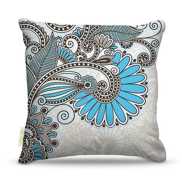 Almofada 45 x 45cm  Nerderia e Lojaria petalas azul colorido