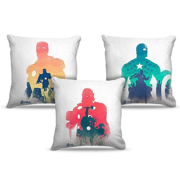 Combo de almofadas 45 x 45 cm (3und.) Nerderia e Lojaria avengers 01 colorido