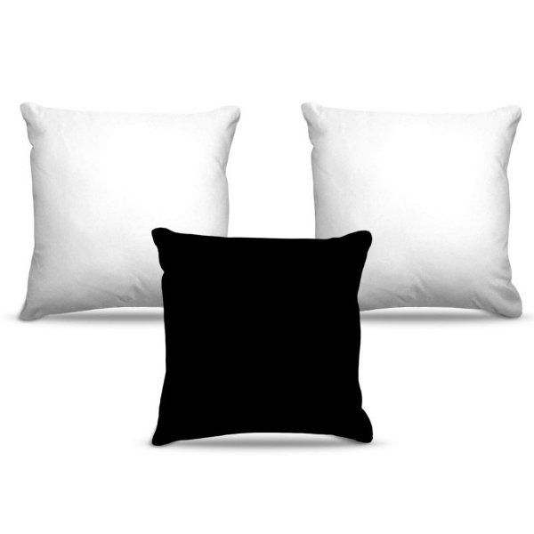 Combo de almofadas 45 x 45 cm (3und.) Nerderia e Lojaria cores bramco e preto colorido