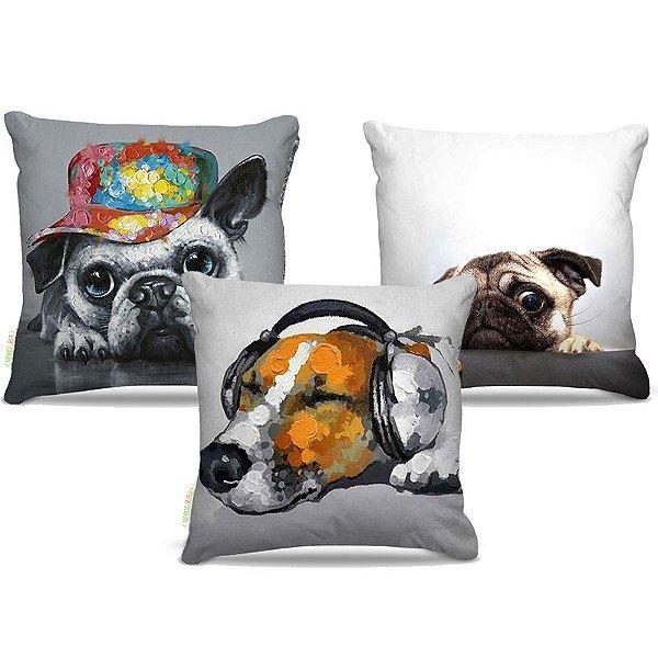 Combo de almofadas 45 x 45 cm (3und.) Nerderia e Lojaria dogs colorido