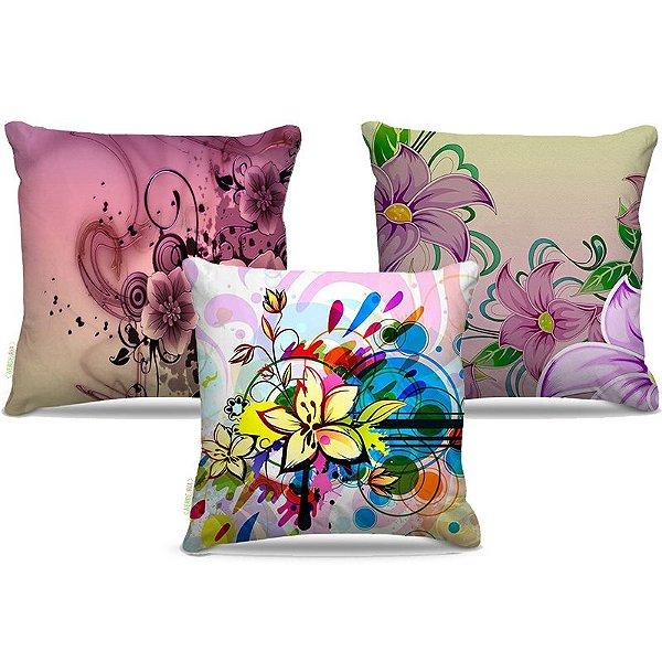 Combo de almofadas 45 x 45 cm (3und.) Nerderia e Lojaria flores pintura colorido