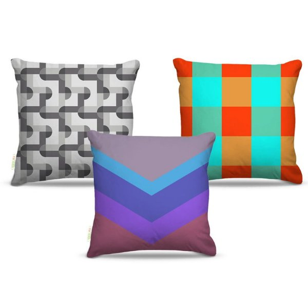 Combo de almofadas 45 x 45 cm (3und.) Nerderia e Lojaria geométrica 05 colorido