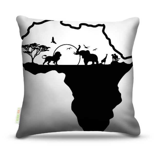 Almofada 40 x 40cm Nerderia e Lojaria animais africa colorido