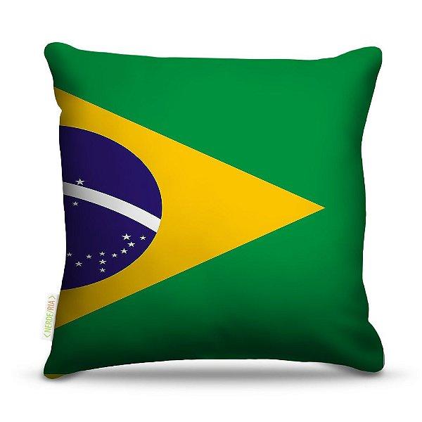 Almofada 40 x 40cm Nerderia e Lojaria bandeira brasil colorido