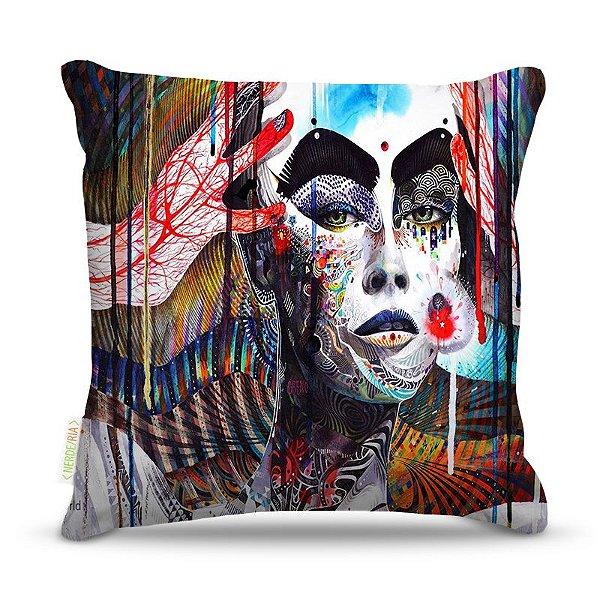 Almofada 40 x 40cm Nerderia e Lojaria face mulher paint  colorido