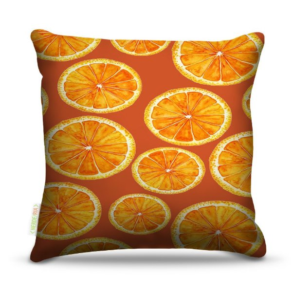 Almofada 40 x 40cm Nerderia e Lojaria laranjas colorido