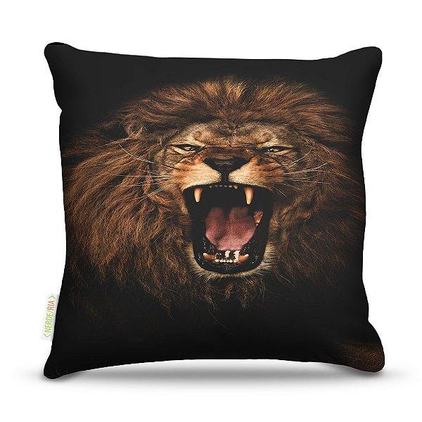 Almofada 40 x 40cm Nerderia e Lojaria lion sepia colorido