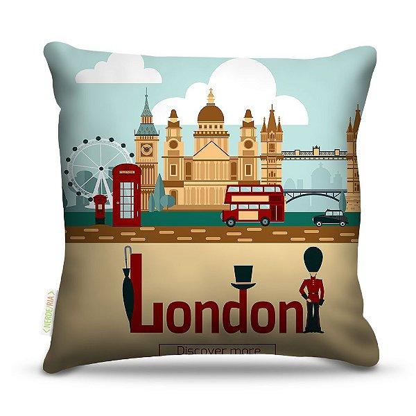 Almofada 40 x 40cm Nerderia e Lojaria London discover colorido