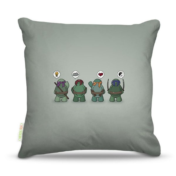 Almofada 40 x 40cm Nerderia e Lojaria ninja turtles think colorido