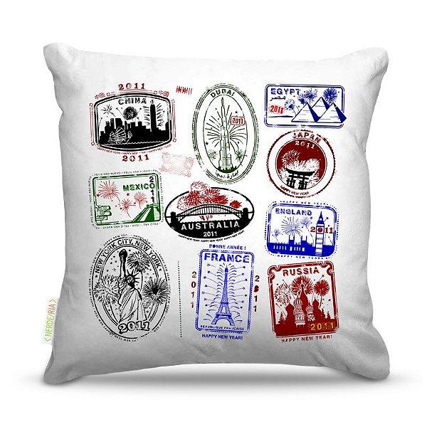 Almofada 40 x 40cm Nerderia e Lojaria selos cidades colorido