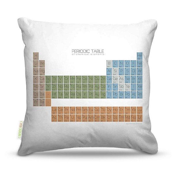 Almofada 40 x 40cm Nerderia e Lojaria tabela periodica colorido