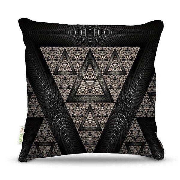Almofada 40 x 40cm Nerderia e Lojaria triangulos surreal negro colorido
