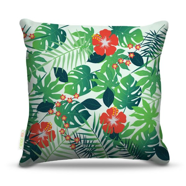 Almofada 40 x 40cm Nerderia e Lojaria tropical colorido