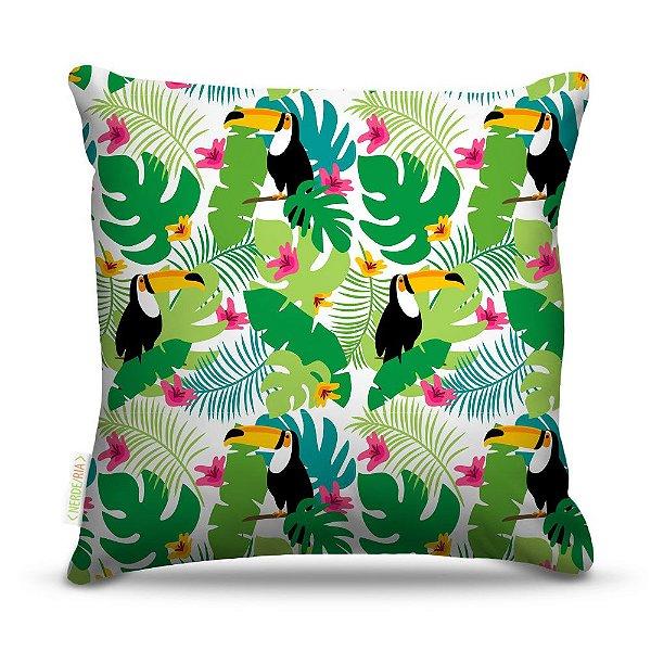 Almofada 40 x 40cm Nerderia e Lojaria tucano selvagem colorido