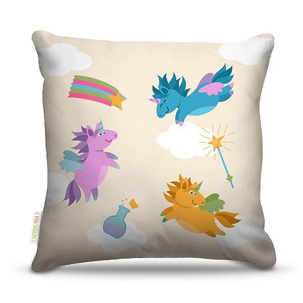 Almofada 40 x 40cm Nerderia e Lojaria unicornio voadores colorido