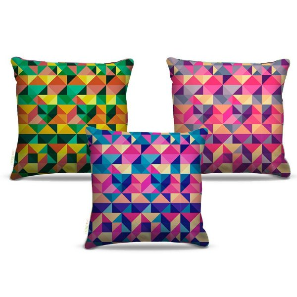 Combo de almofadas 40 x 40 cm (3und.) Nerderia e Lojaria geométrica colorido