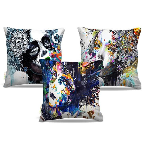 Combo de almofadas 40 x 40 cm (3und.) Nerderia e Lojaria mulher pintura colorido