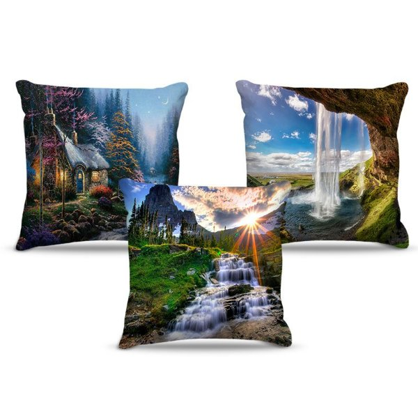 Combo de almofadas 40 x 40 cm (3und.) Nerderia e Lojaria paisagens colorido