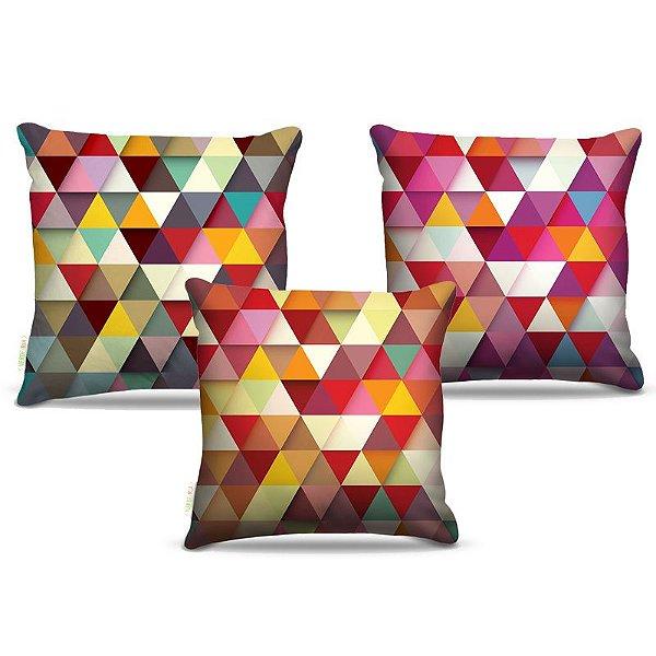 Combo de almofadas 40 x 40 cm (3und.) Nerderia e Lojaria triangulos colorido