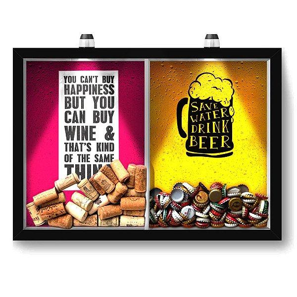 Quadro Porta Rolha Vinho E Tampinha Cerveja (2 Em 1) 33x43 cm  - Com LED Nerderia e Lojaria happiness e save water preto