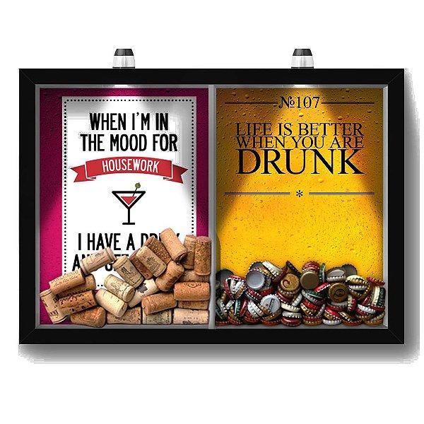 Quadro Porta Rolha Vinho E Tampinha Cerveja (2 Em 1) 33x43 cm  - Com LED Nerderia e Lojaria housework e drunk preto
