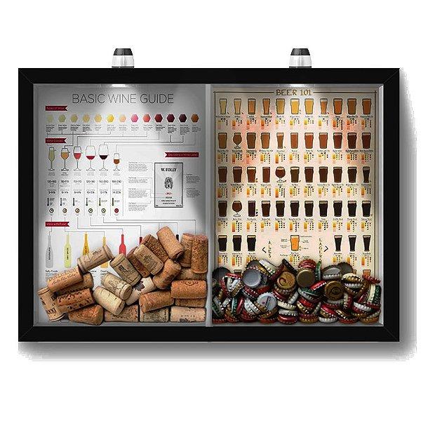 Quadro Porta Rolha Vinho E Tampinha Cerveja (2 Em 1) 33x43 cm  - Com LED Nerderia e Lojaria Wine guide e beer 101 preto