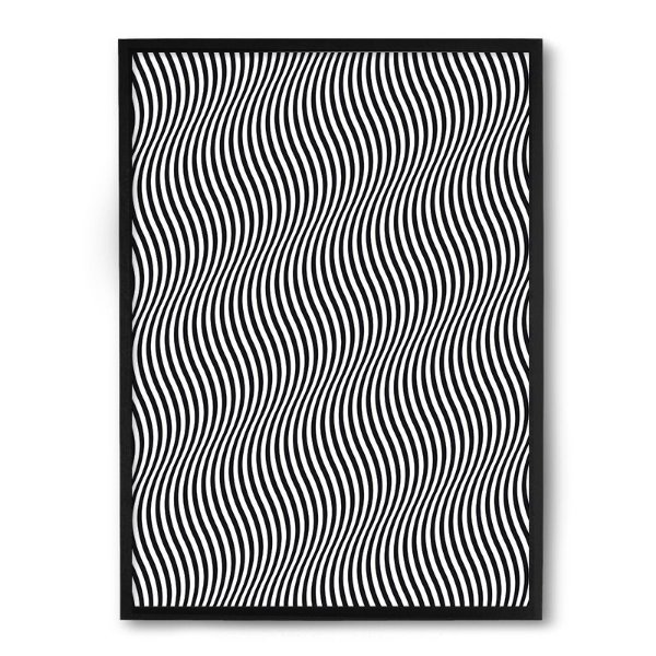 Quadro Decorativo 33x43cm Nerderia e Lojaria ondas 3d preto