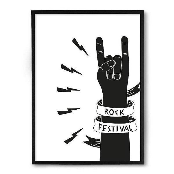 Quadro Decorativo 33x43cm Nerderia e Lojaria rock festival preto