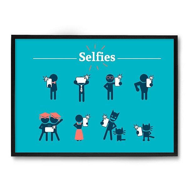 Quadro Decorativo 33x43cm Nerderia e Lojaria selfie preto