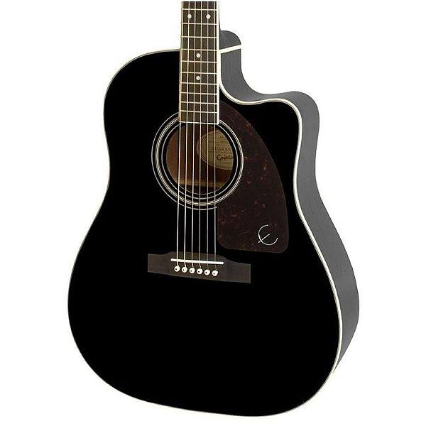 Violão Elétrico Epiphone AJ220 SCE Solid Top Folk Black