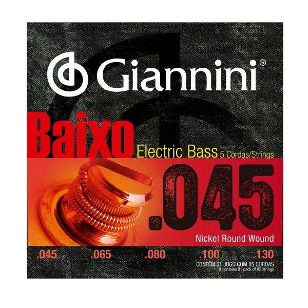 Encordoamento Giannini GEEBRS-5 .045/.130 para Contrabaixo