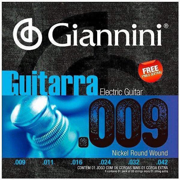 Encordoamento Giannini GEEGST09 .009/.042 para Guitarra