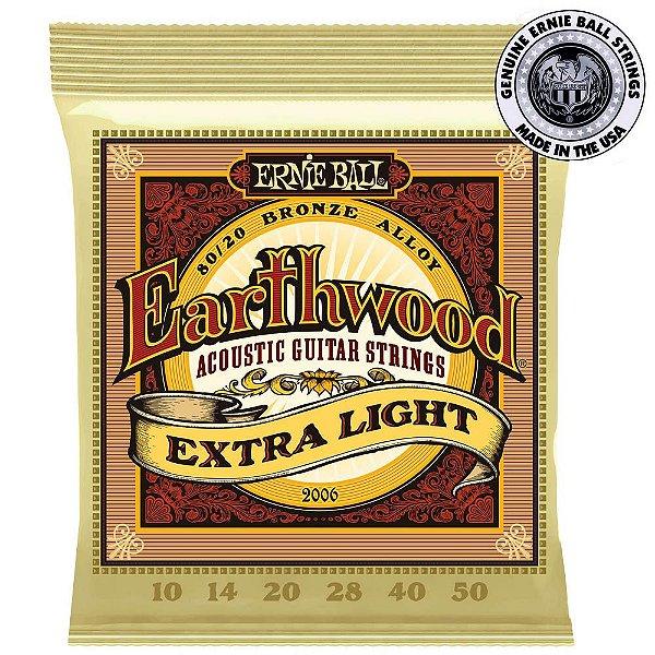 Encordoamento Ernie Ball 2006 Earthwood .010 para Violão Aço