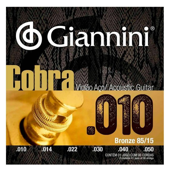 Encordoamento Giannini GEEFLE .010/.050 Bronze P/ Violão Aço