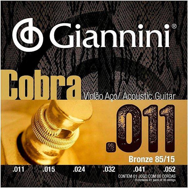 Encordoamento Giannini GEEFLK .011/.052 Bronze P/ Violão Aço