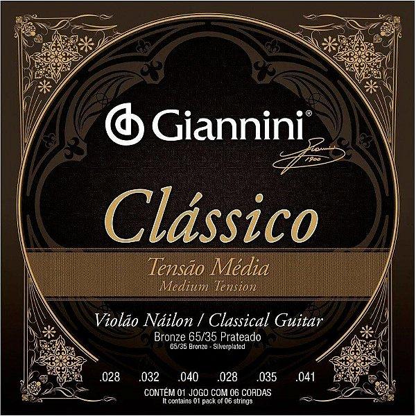 Encordoamento Giannini GENWPM Tensão Média para Violão Nylon