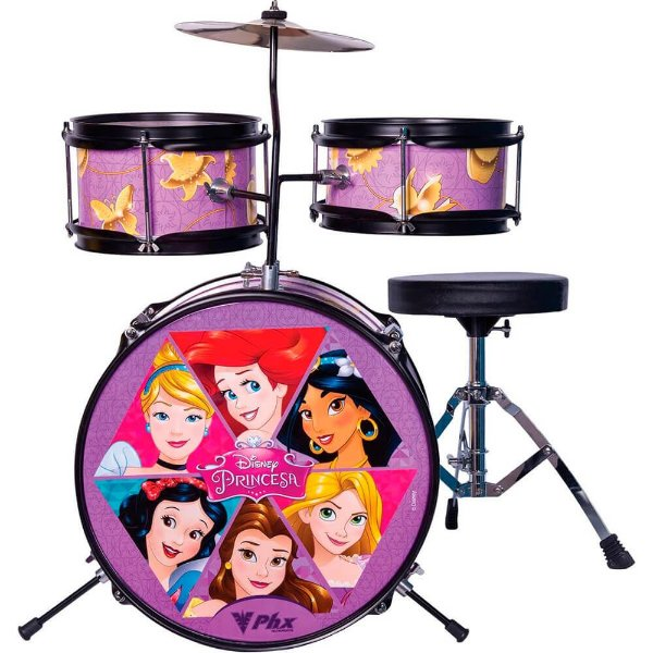 "Bateria Infantil Phx BID-P1 Disney Princesas 14"" 3 Peças"