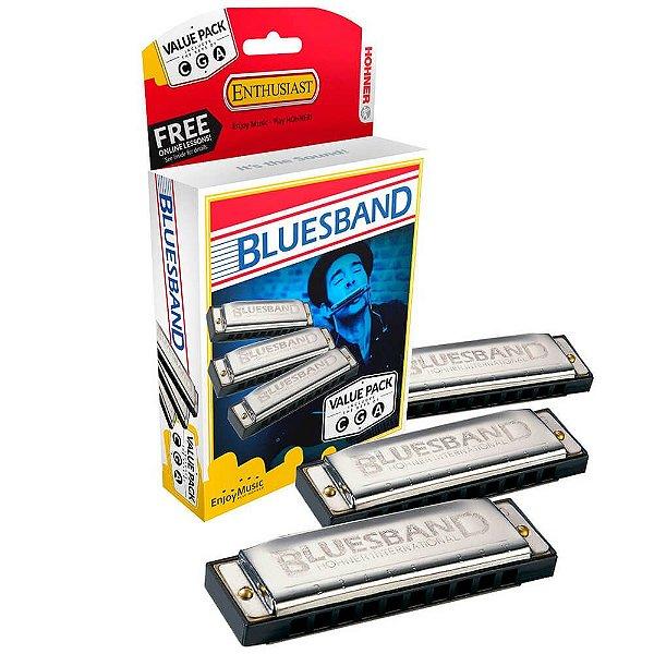 Kit de Gaita Hohner Blues Band M559XP Diatônica C/G/A