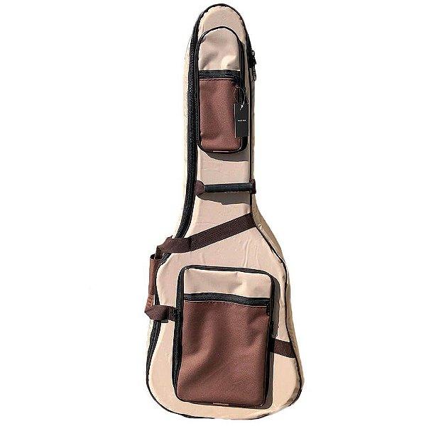 Semi Case Log Bags Deluxe Bege para Violão Folk