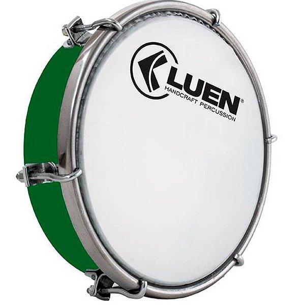 """Tamborim Luen 06"""" ABS Verde com Pele Leitosa"""
