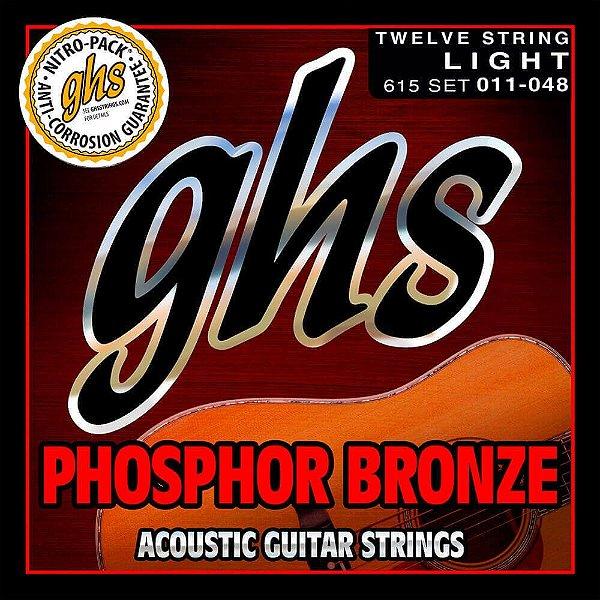 Encordoamento GHS 615 Phosphor Bronze 011/048 para violão 12 cordas