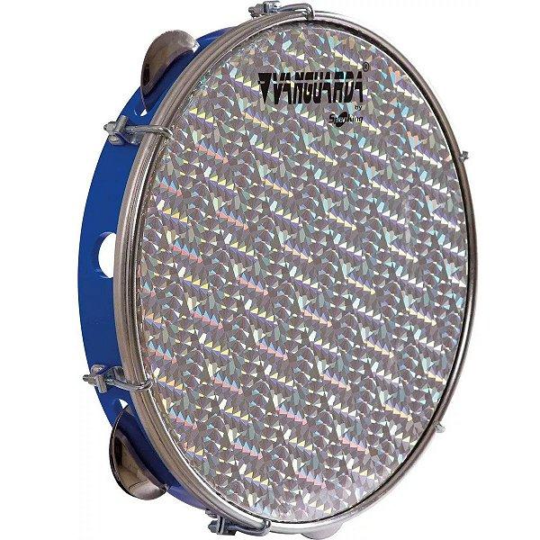 Pandeiro Spanking ABS Azul com Pele Holográfica Aro 10