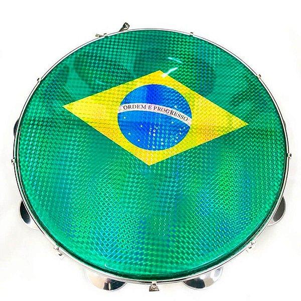 "Pandeiro Acrílico Phx 97A BL 12"" Azul Pele Brasil Verde"