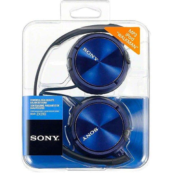 Fone De Ouvido Sony Mdr-zx310ap Azul Com Microfone